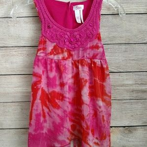 Justice Girls hot pink tie-dye beaded crochet top